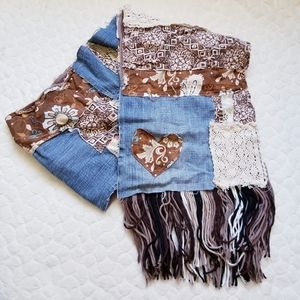 Scarf shabby chic distressed patchwork denim lace